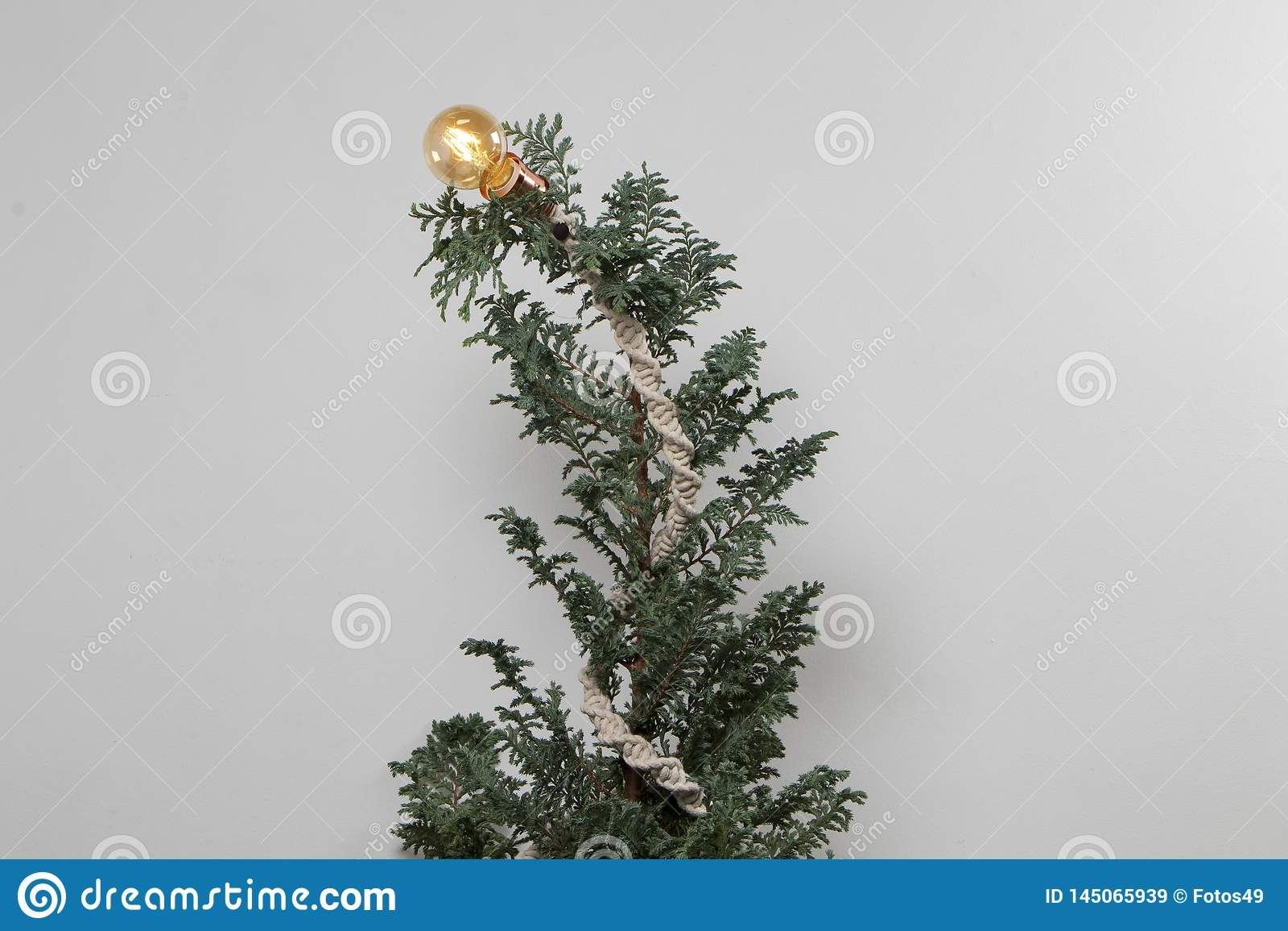 Julgranrät maska med vit bakgrund för makramé och för ljus kula