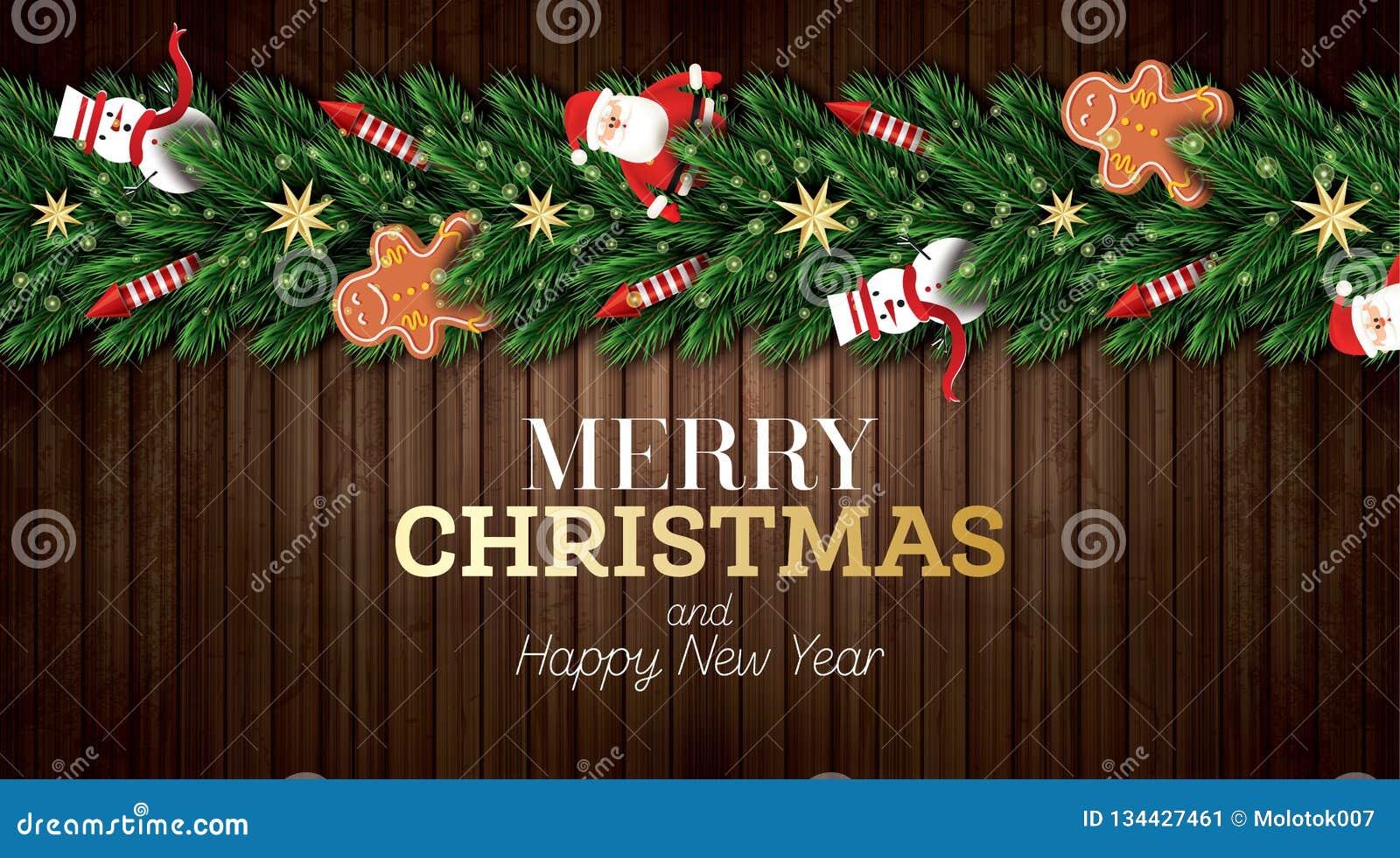 Julhälsningkort med Santa Claus, julgranfilialer, guld- stjärnor, den röda raket-, snögubbe- och pepparkakamannen