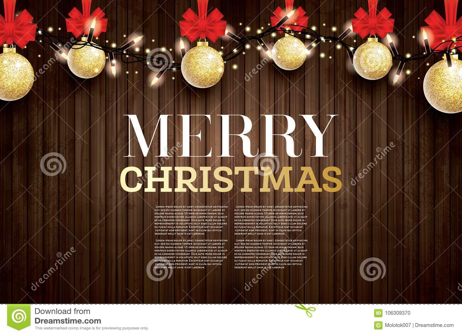 Julhälsningkortet med guld- blänker julbollen och R