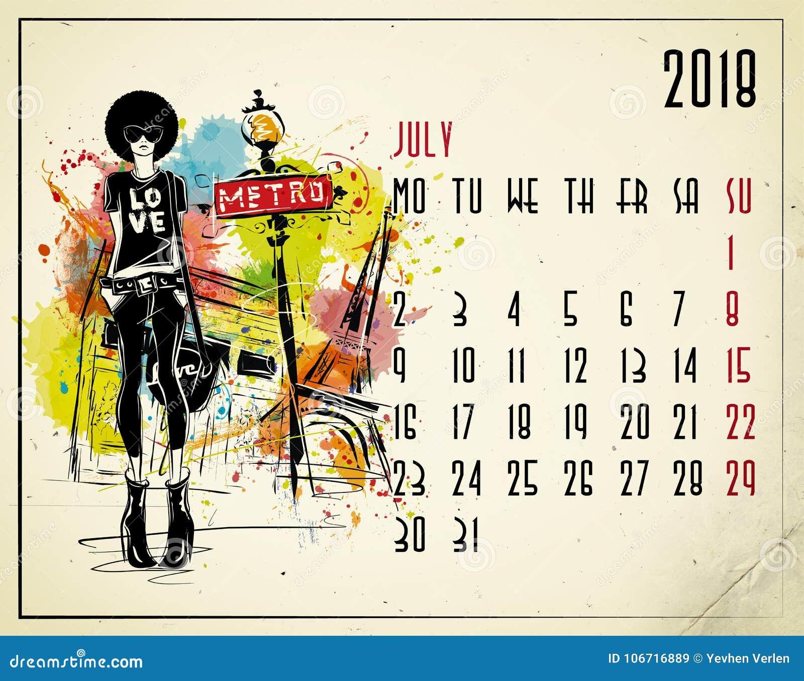 Julho Calendário de 2018 europeus com menina da forma