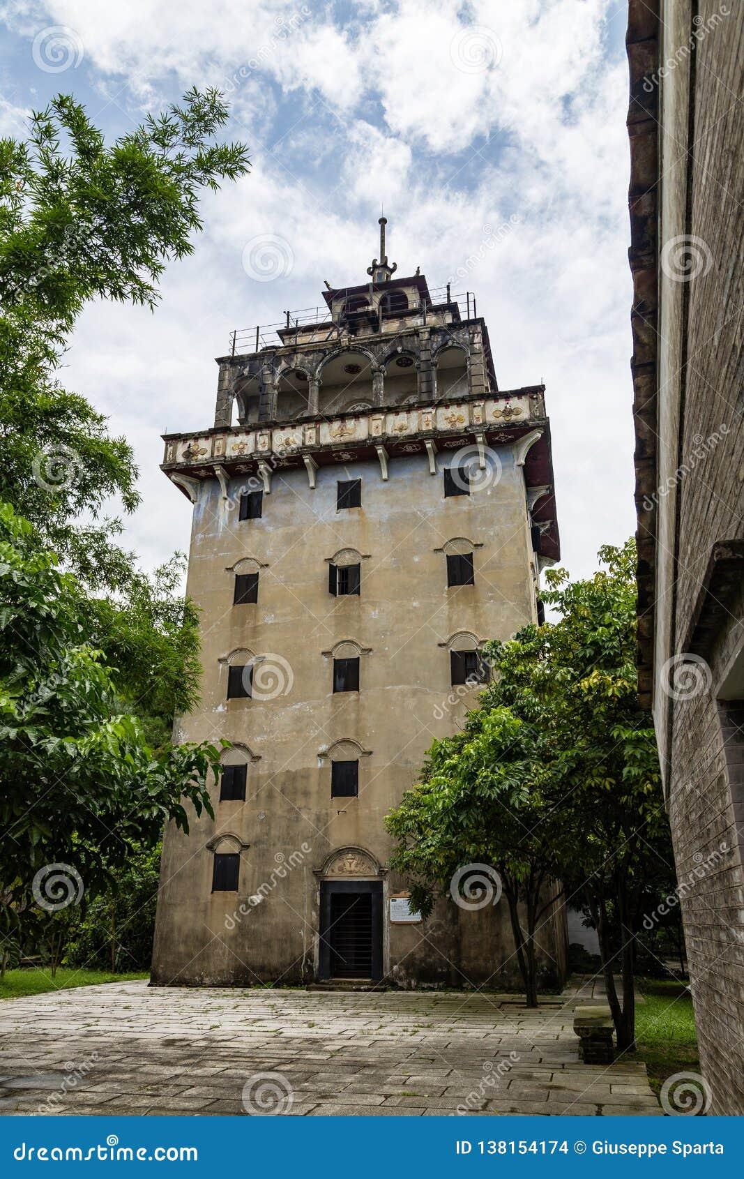 """Juli 2017 †""""Kaiping, de toren van China - Tianlulou-in het dorp van Kaiping Diaolou Maxianglong, dichtbij Guangzhou"""