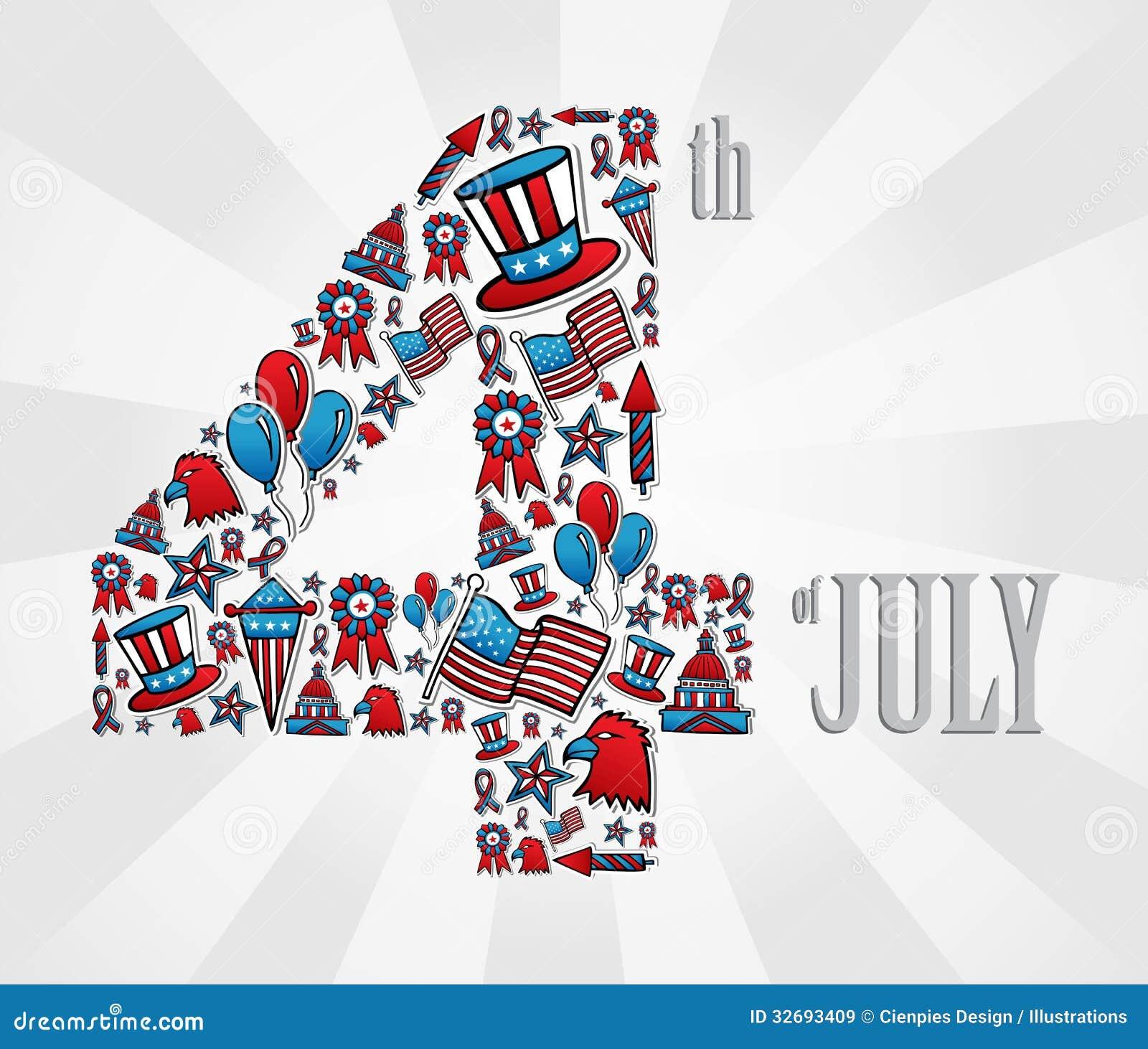 4 juli-de pictogrammen van de onafhankelijkheidsdag
