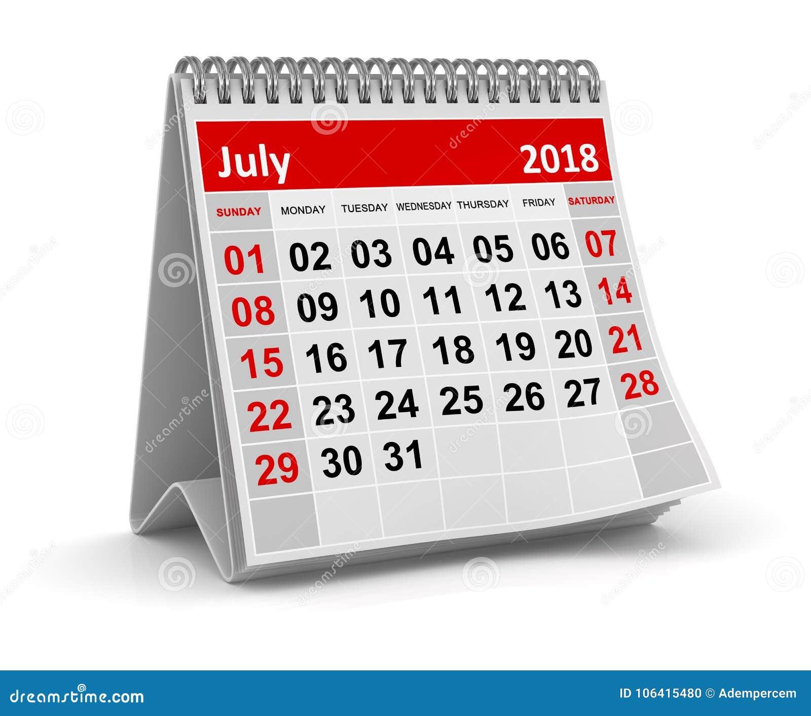 Juli 2018 - kalender