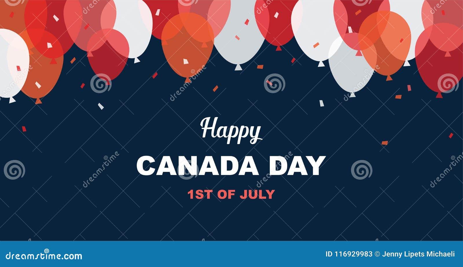 1 Juli Lyckligt kort för Kanada daghälsning Berömbanret med flygballonger i kanadensisk flagga färgar