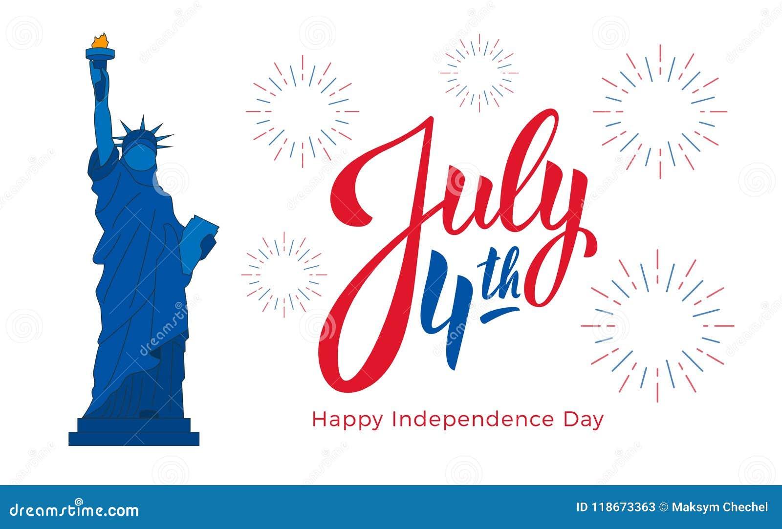 Juli 4th, USA självständighetsdagenberöm Baner med bokstäver, staty av frihet och fyrverkerier