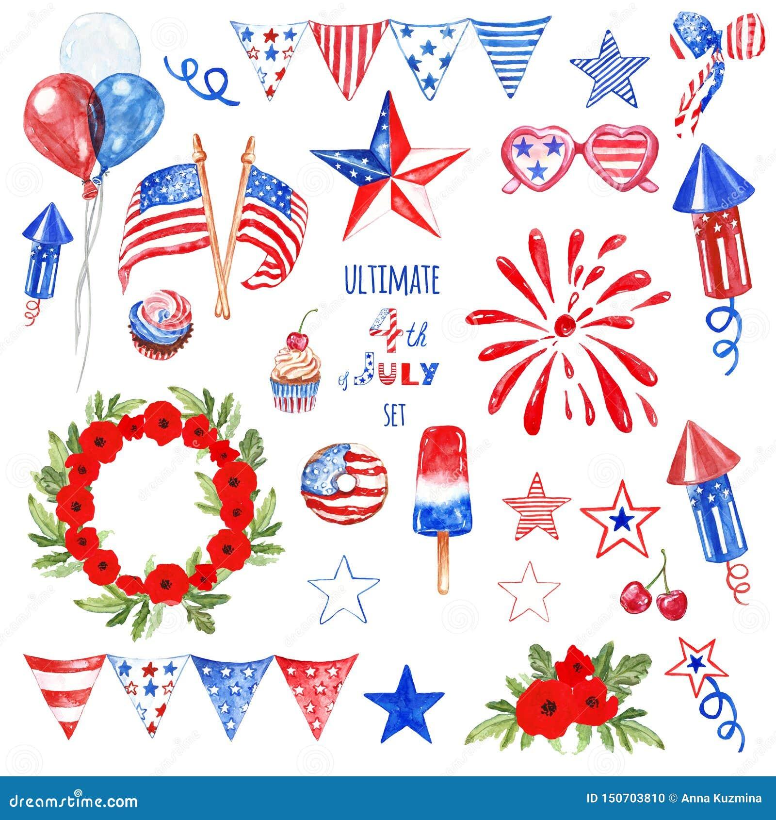 Juli-Viertelsymbole und -elemente stellten in die blauen, roten und weißen Farben von USA-Flagge ein, lokalisiert Patriotischer D
