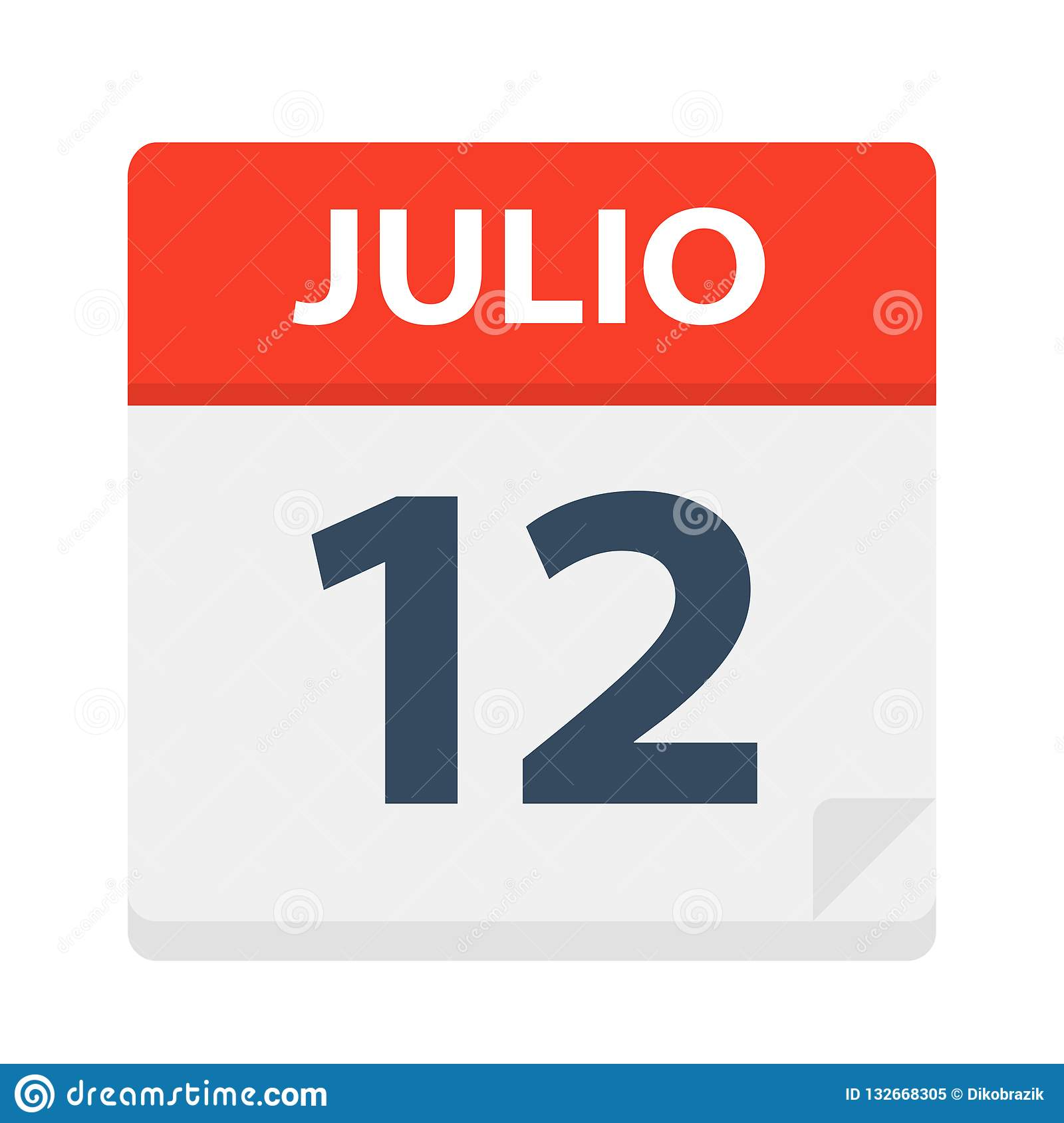 Calendario Julio 2019 Vector.Julio 12 Calendar Icon July 12 Vector Illustration Of