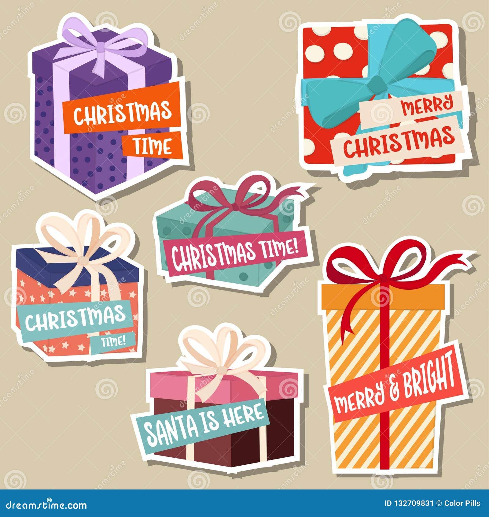 Julklistermärkesamling med gåvaaskar