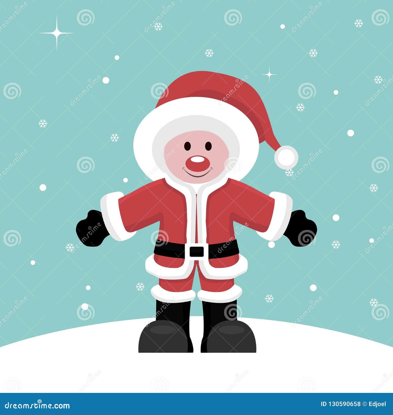 Julkort av det Santa Claus barnet under snö