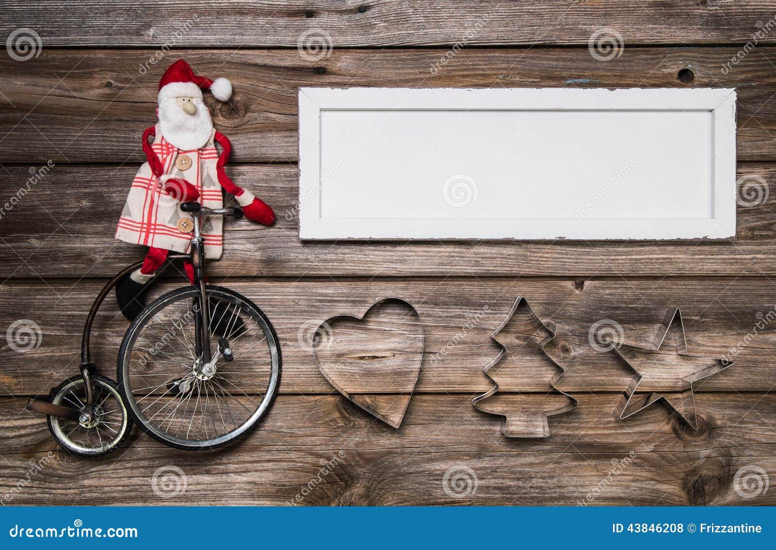 Julkort eller advertizingtecken med röd och vit garnering