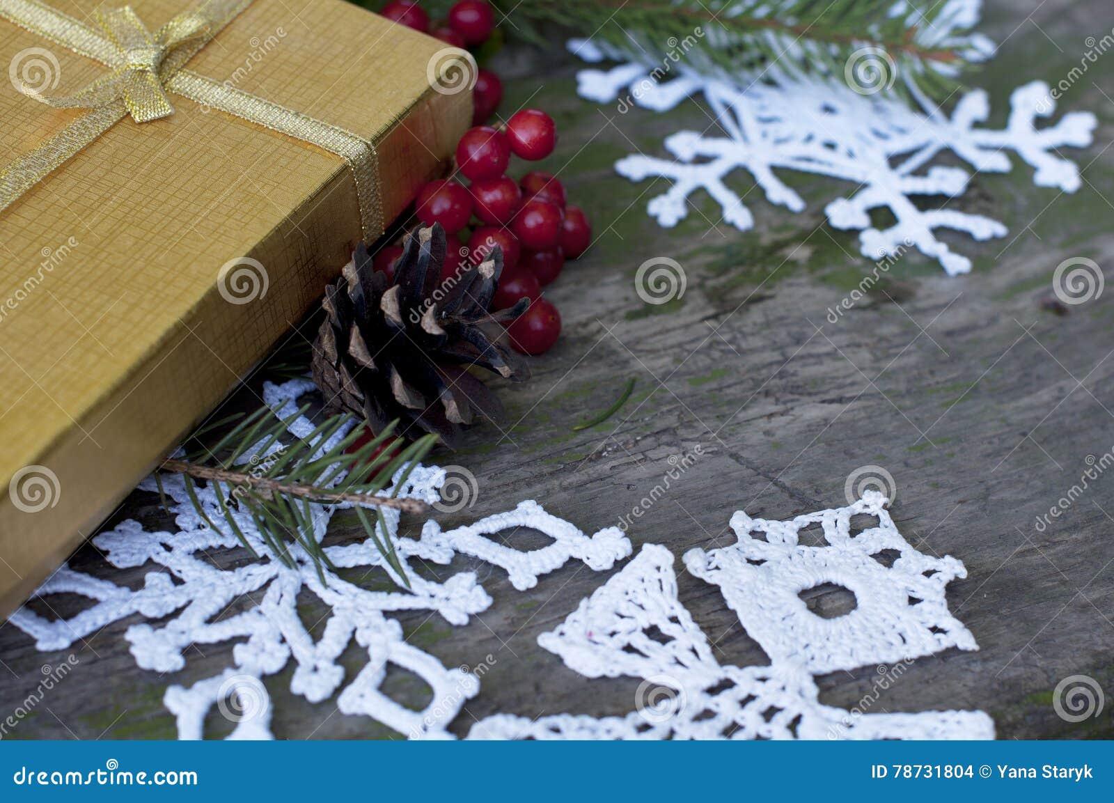 Julkort med gåvan och dekoren