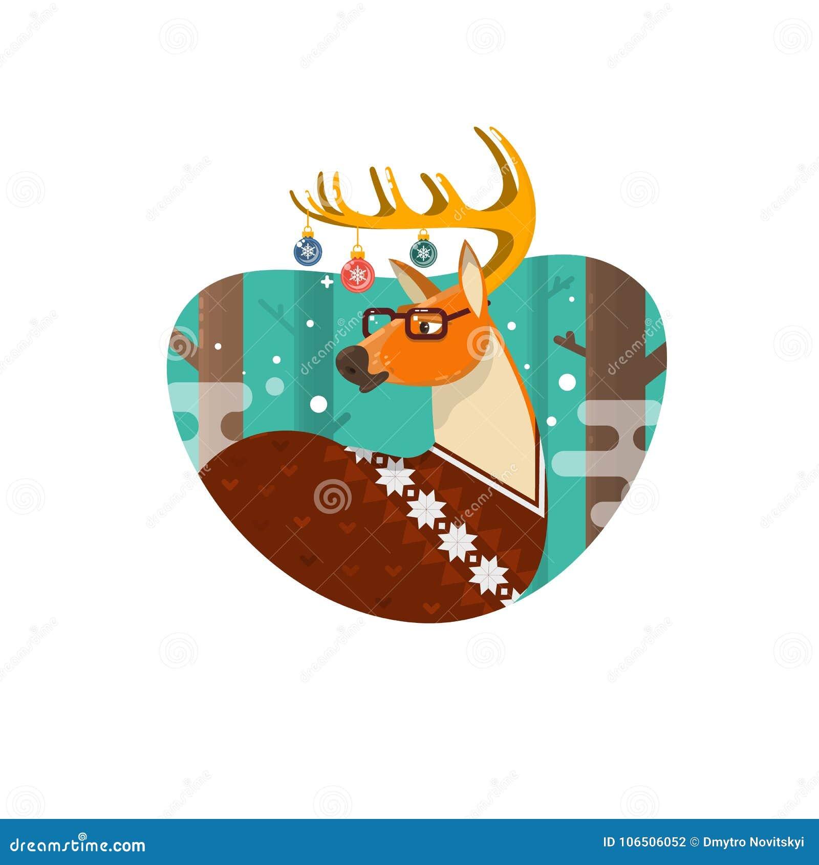 Julkort med NerdHipsterhjortar, plan illustration