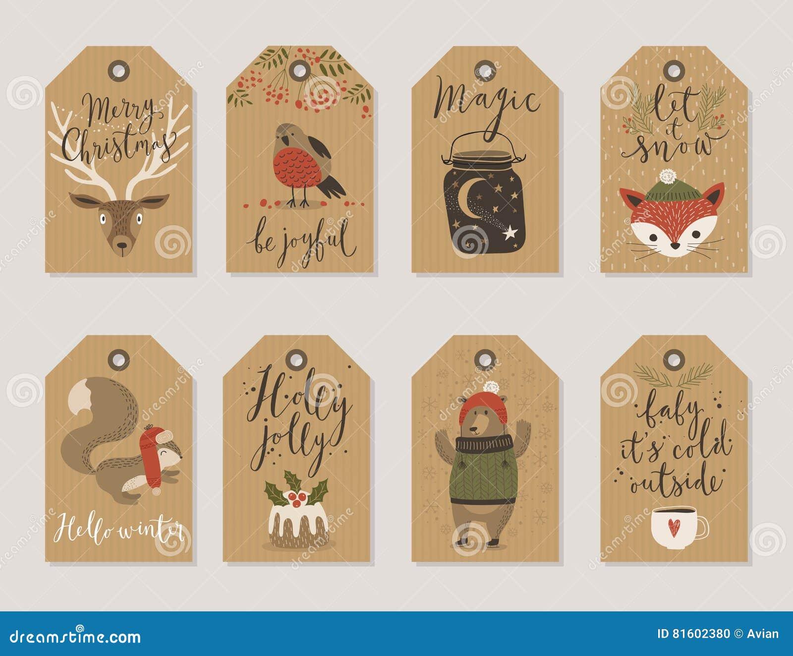 Julkraft ställer räcker pappers- kort och gåvaetiketter in, utdragen stil