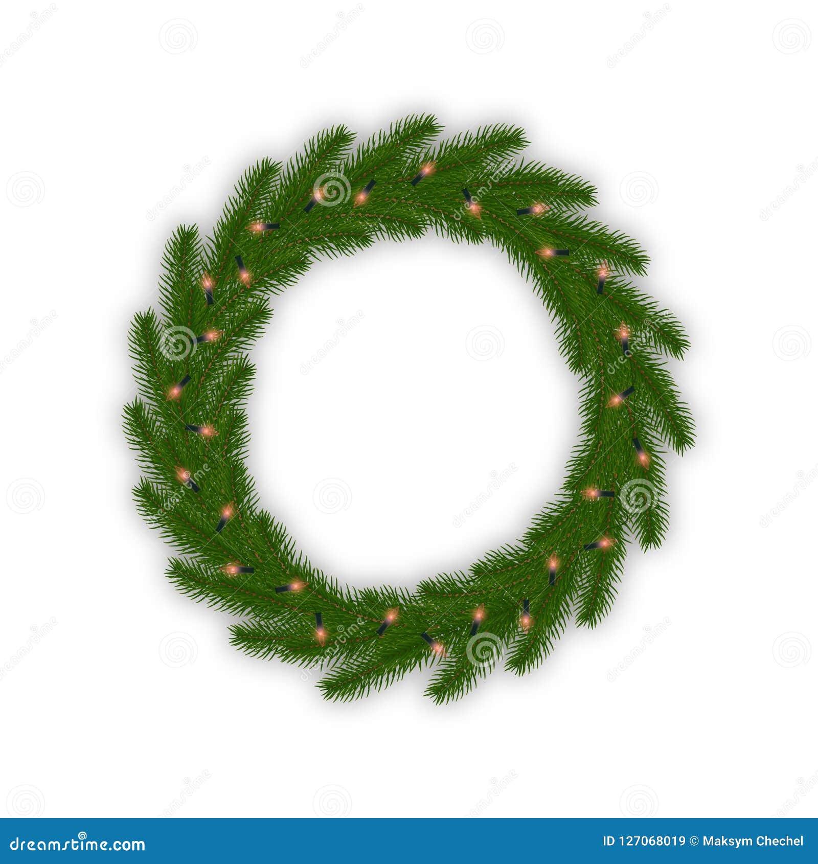 Julkrans med den glödande ljusgirlanden Garnering för Xmas för granträd med ljus