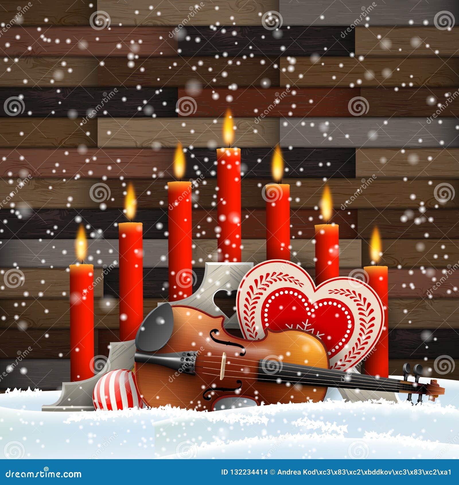 Julljus med hjärta, stearinljus och fiolen