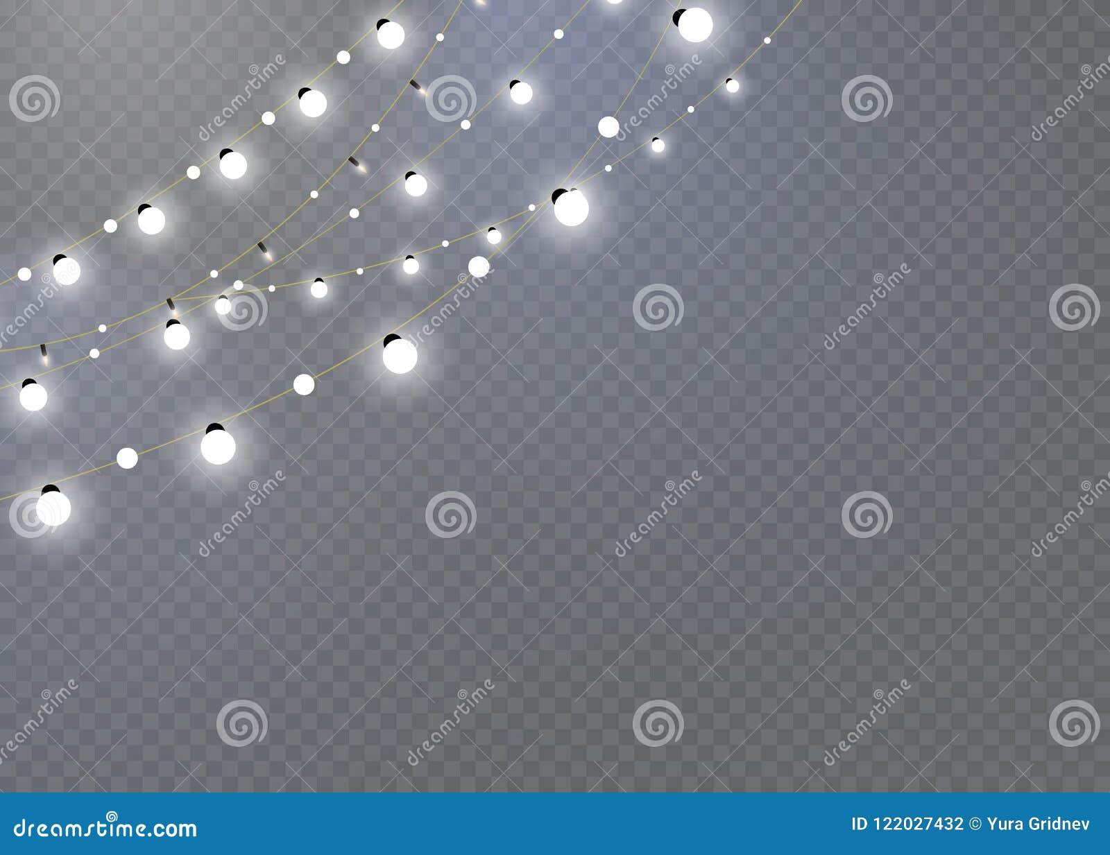 Julljus som isoleras på en genomskinlig bakgrund Glödande girland för jul garnering för det nya året och julen Ljus E