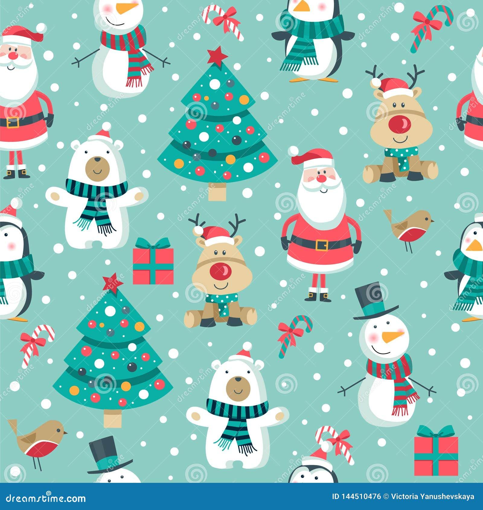 Julmodell med jultomten, träd, isbjörn snögubbe, hjortar och pingvin ,