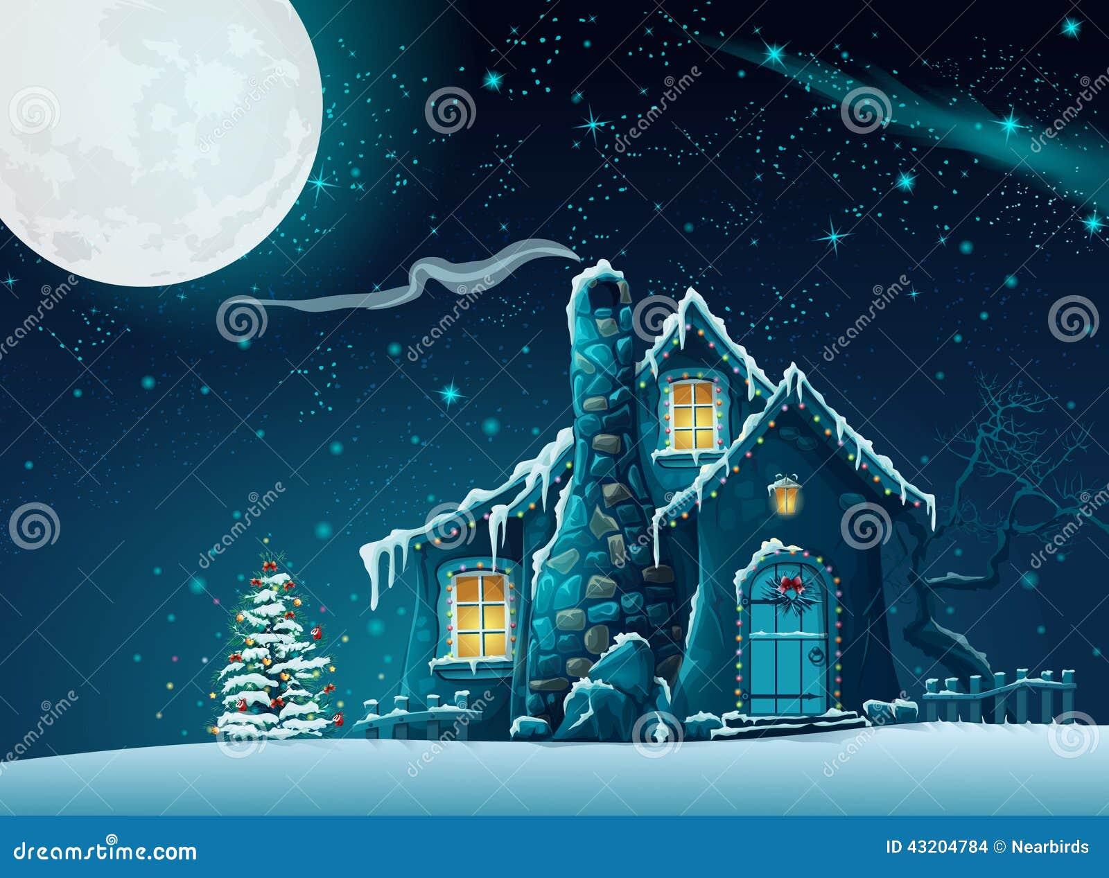 Download Julnatt Med Ett Sagolikt Hus Vektor Illustrationer - Illustration av rök, ferier: 43204784