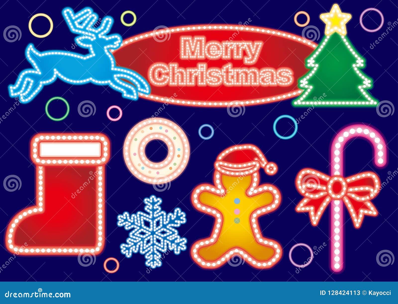 Julneontecken - färgrik färguppsättning