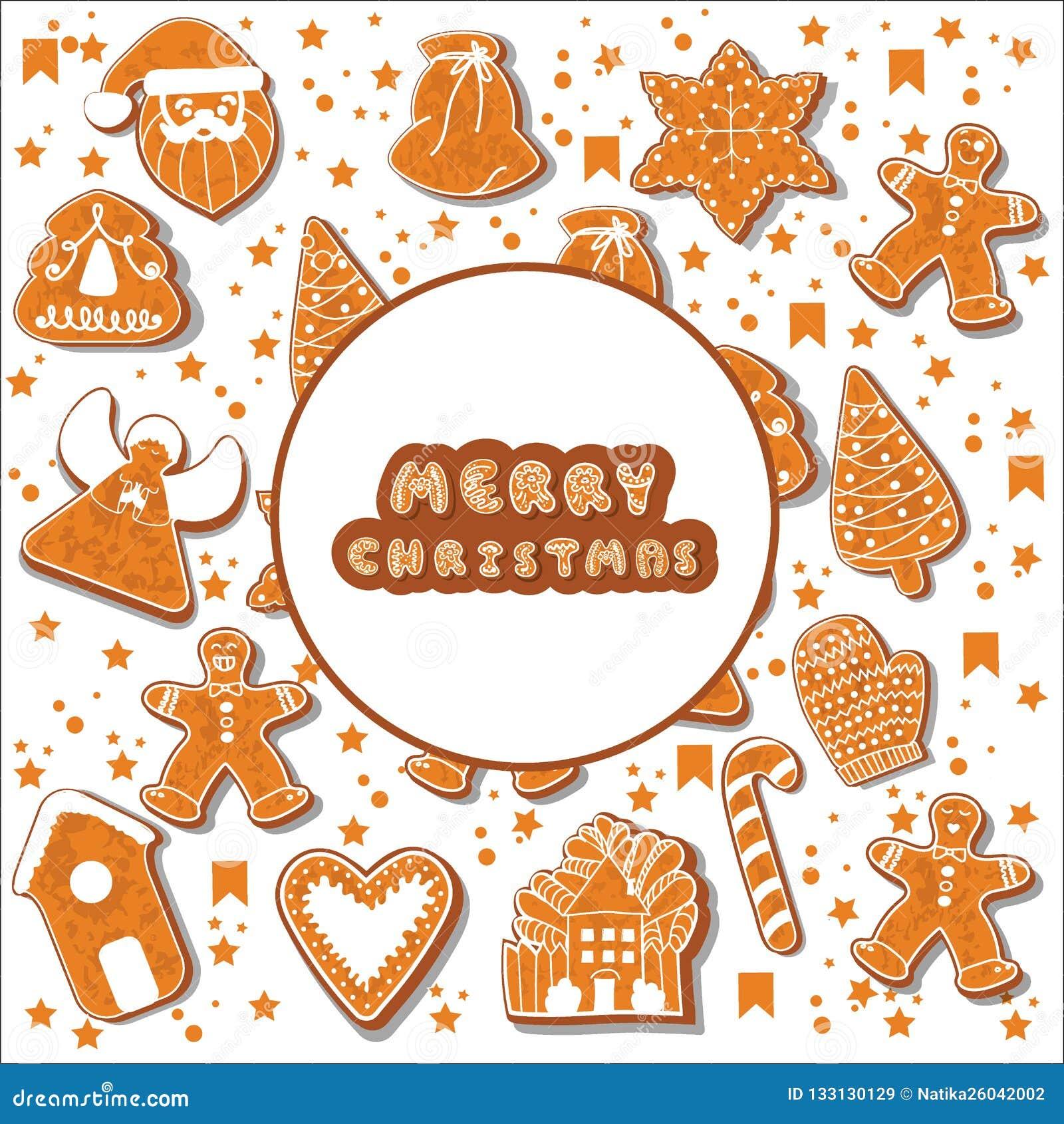 Julpepparkakakakor som gör en rektangulär ram illustration Lycklig affisch för vinterferier nytt år Jul