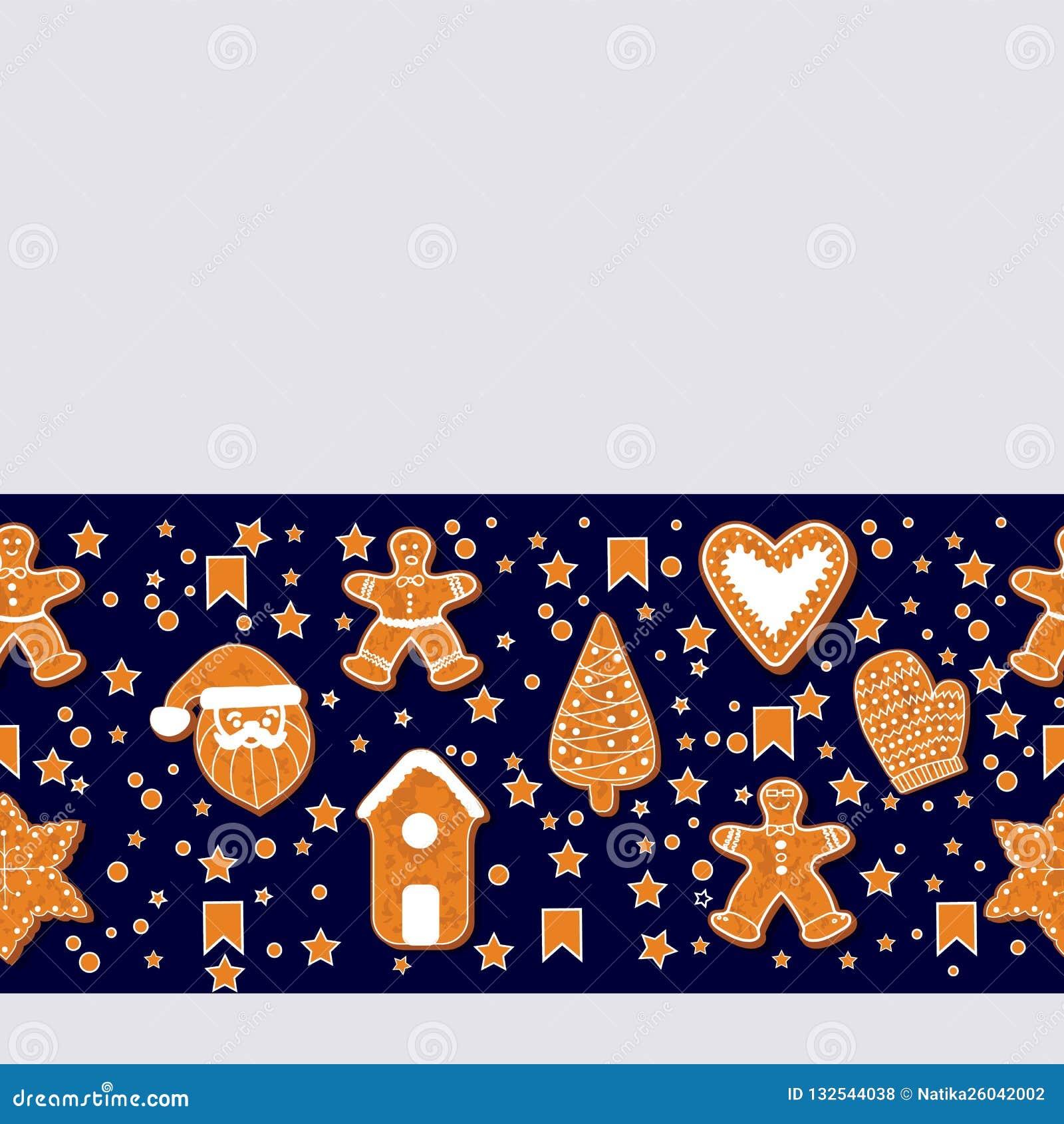 Julpepparkakakakor som gör en rektangulär ram också vektor för coreldrawillustration Lycklig affisch för vinterferier nytt år