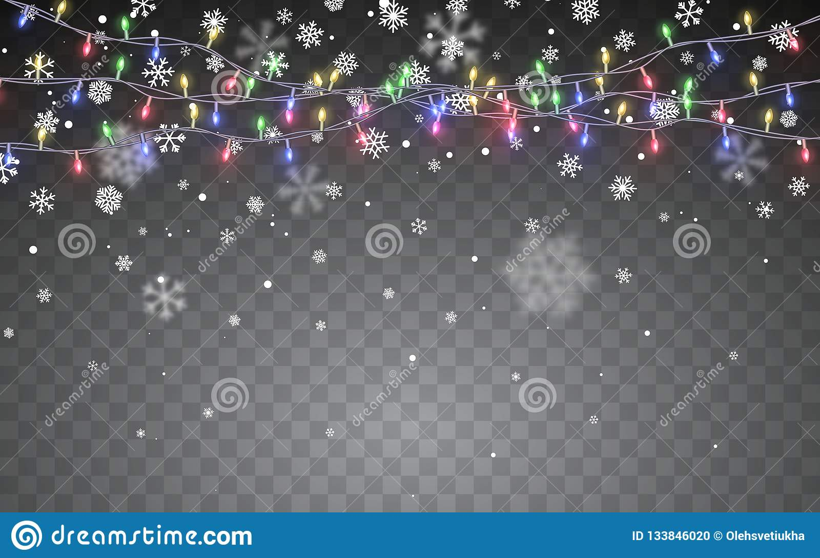 Julsnow Fallande vita snöflingor på mörk bakgrund Xmas-färggirland, festliga garneringar glödande lampor för jul