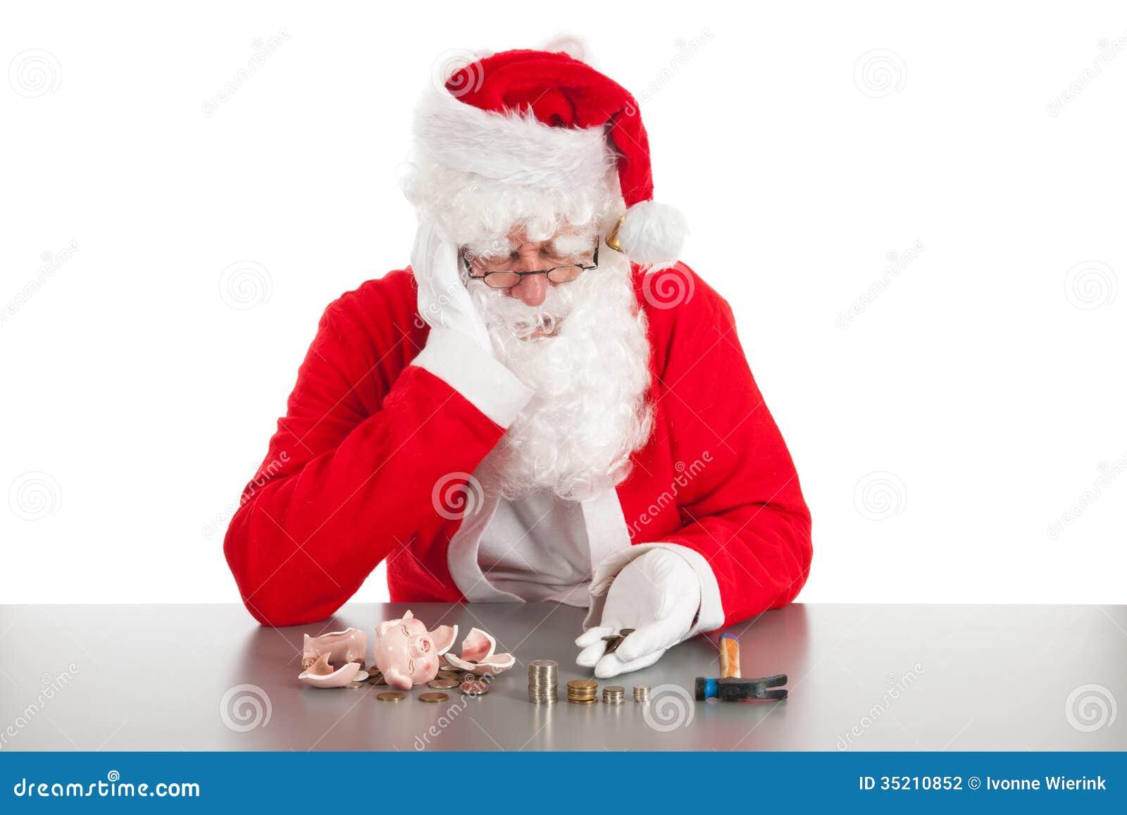 Jultomten som räknar mynt