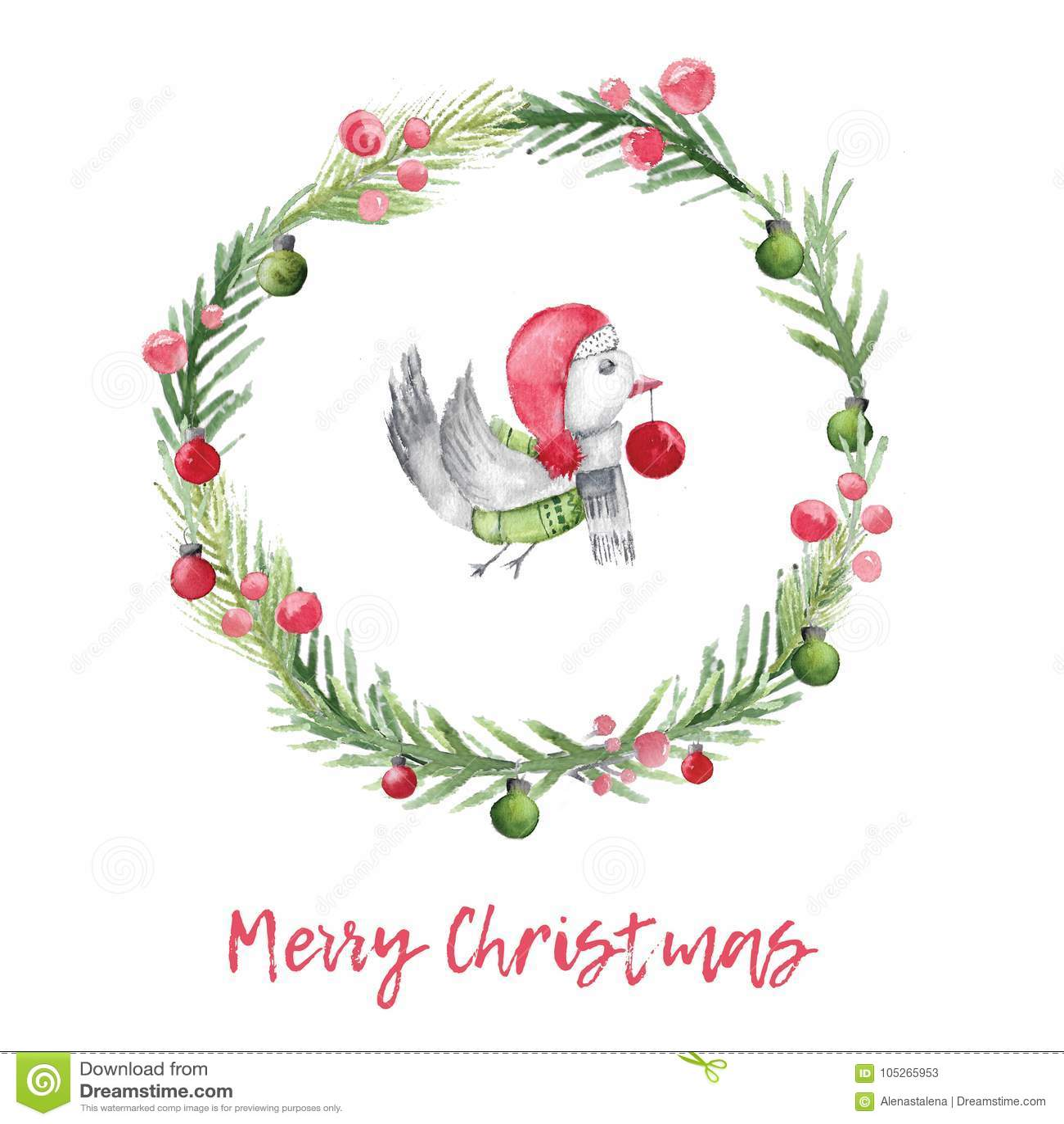 Julvattenfärgkort med fågeln och grankransen Xmas-garnering med lantlig design