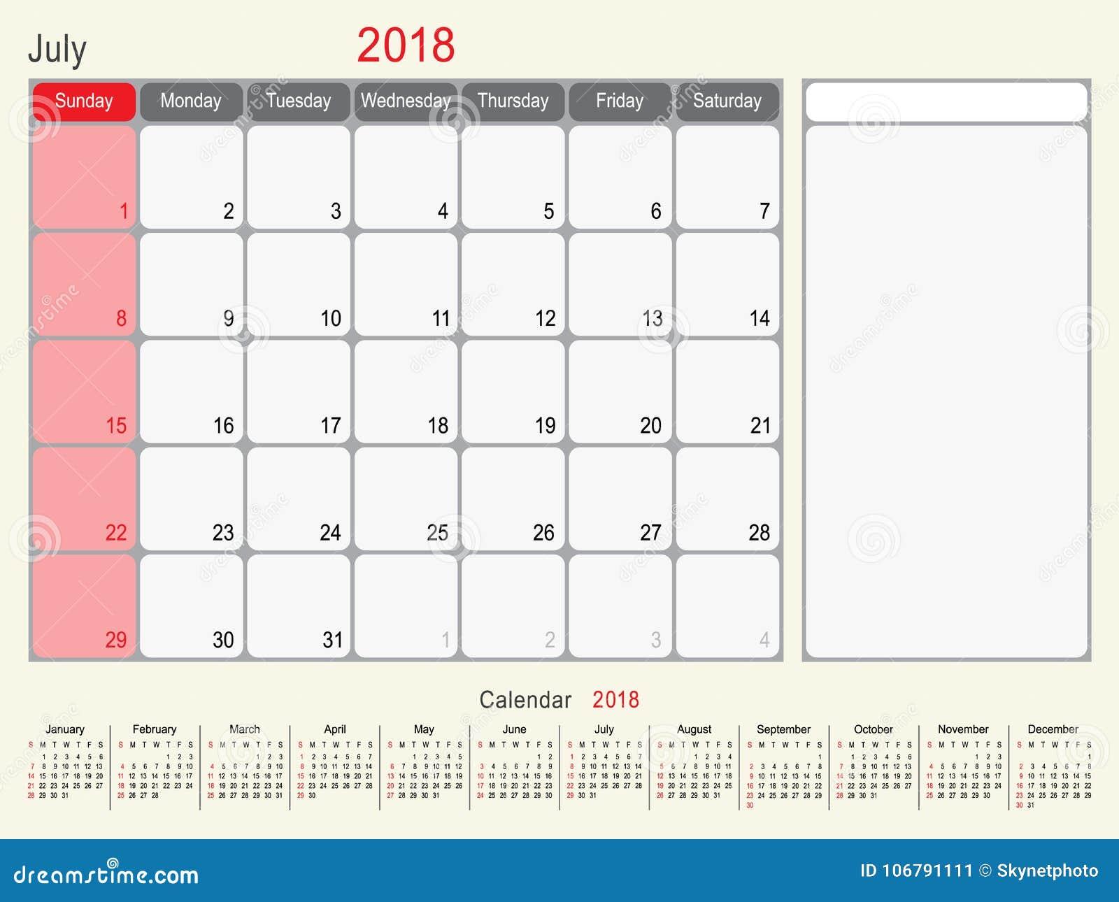 july 2018 calendar planner design