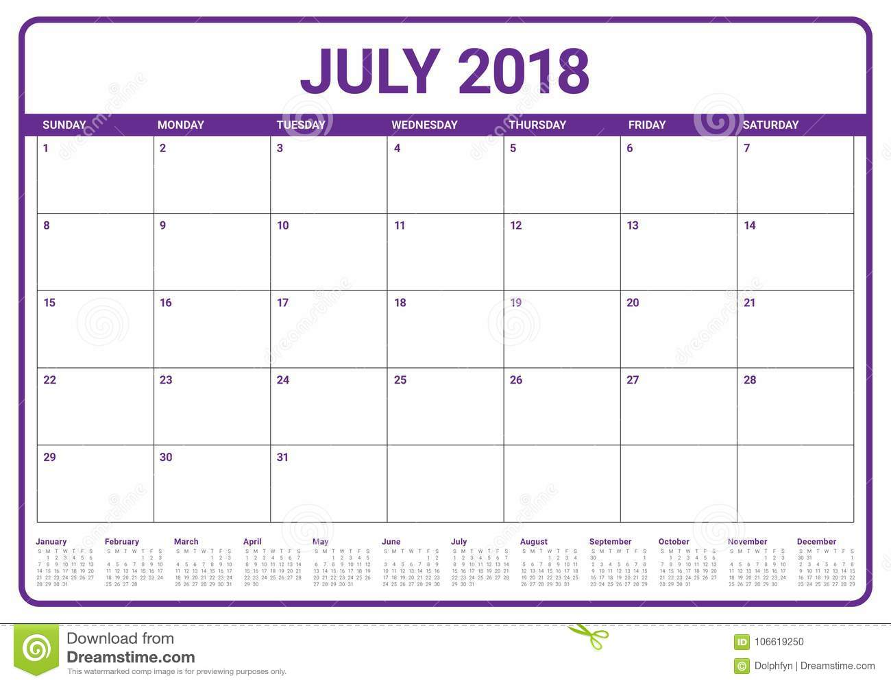 july 2018 calendar planner vector illustration