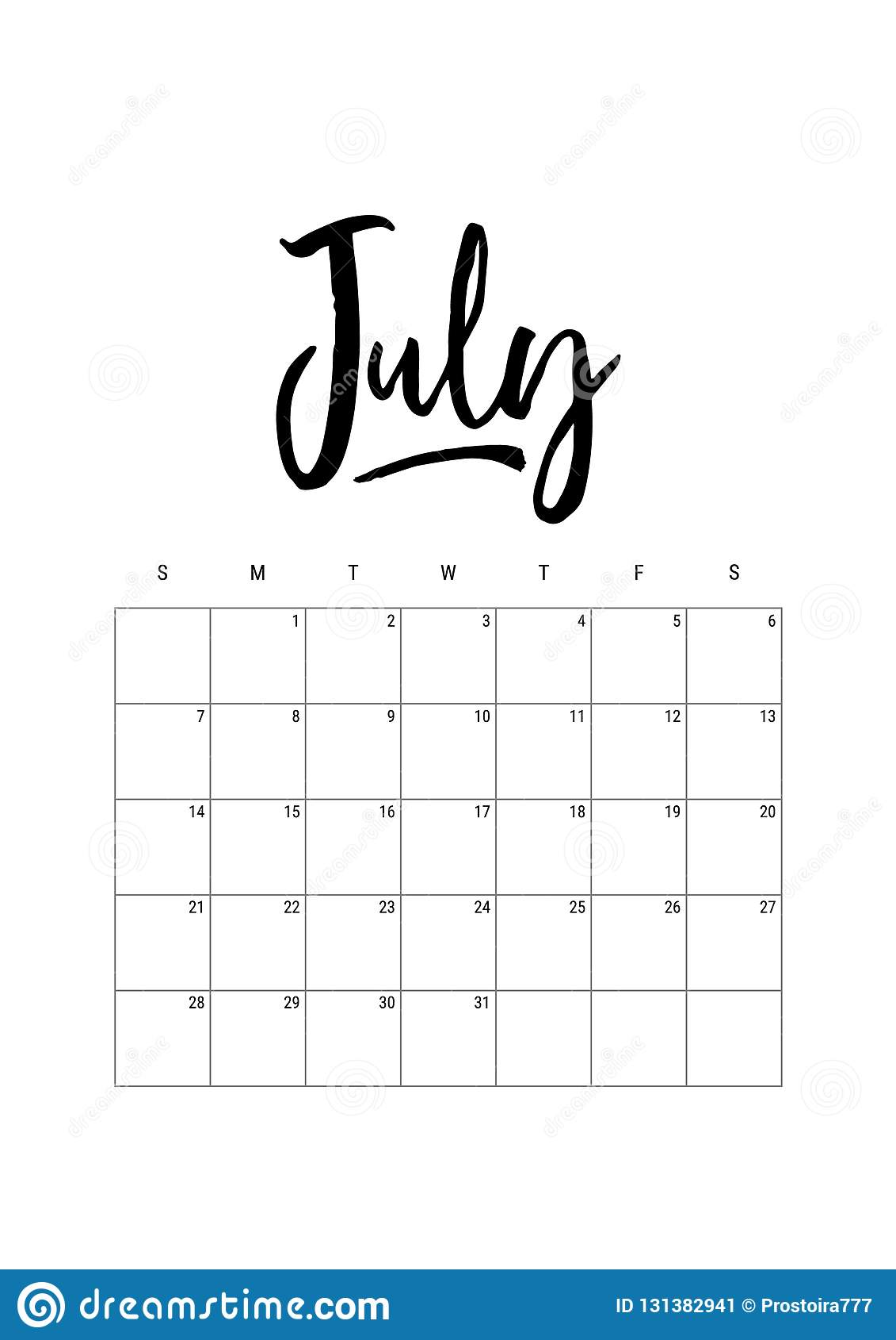 July Calendar Planner 2019 Week Starts On Sunday Part Of Sets Of