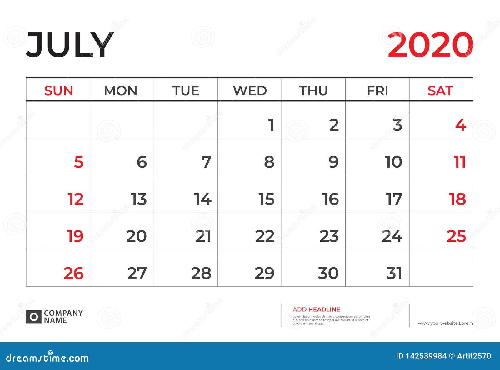 July Calendar For 2020.July 2020 Calendar Template Desk Calendar Layout Size 9 5 X 6 5
