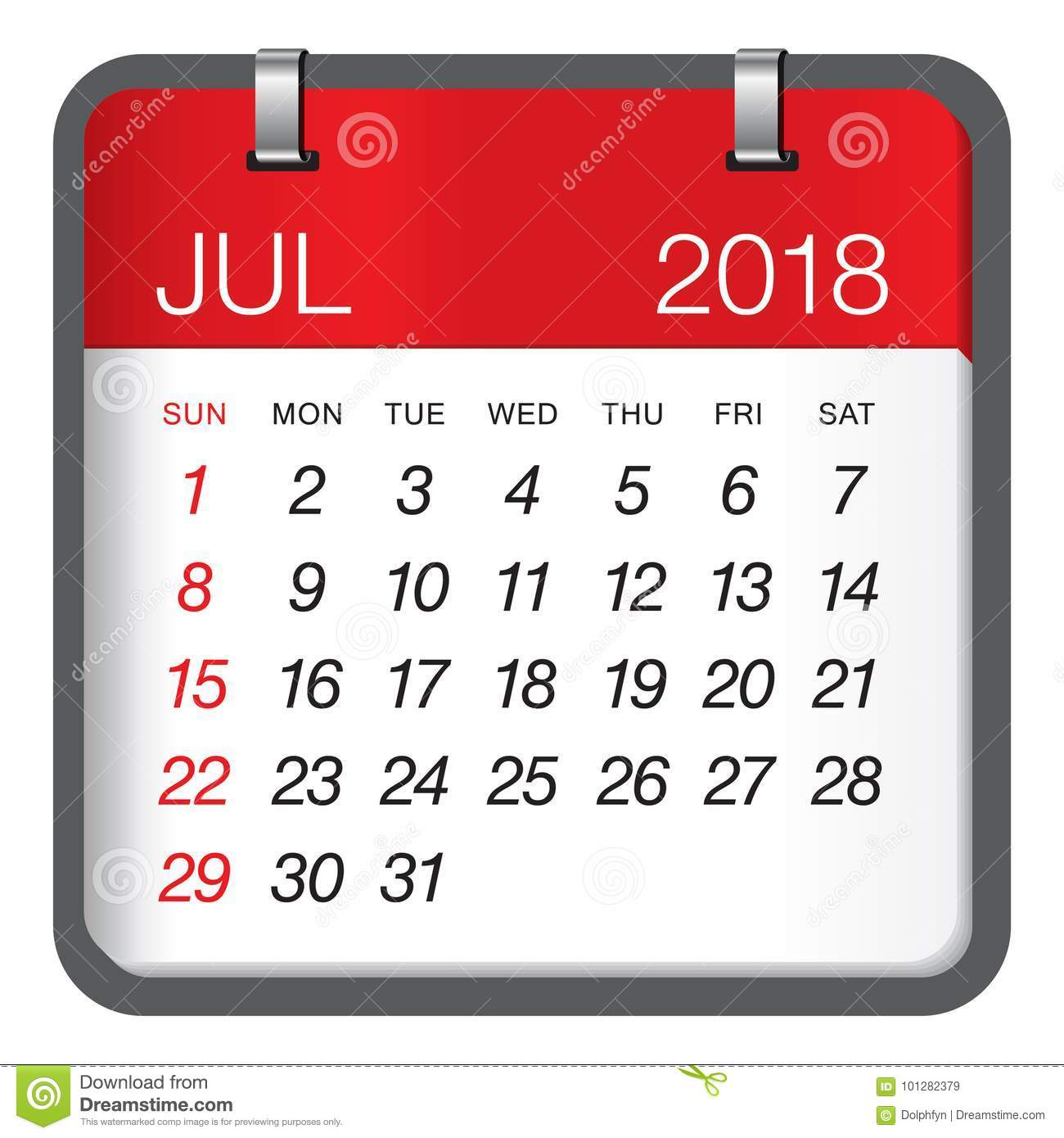 july 2018 calendar vector illustration