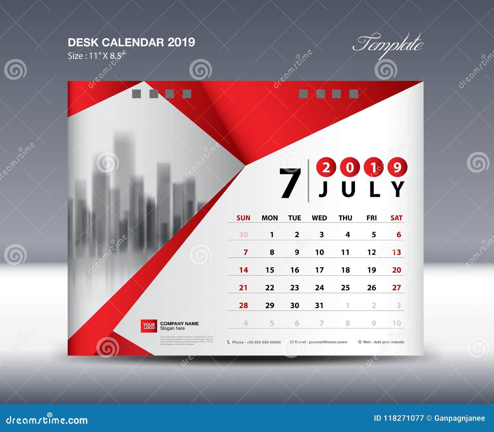 july desk calendar 2019 template week starts sunday stationery