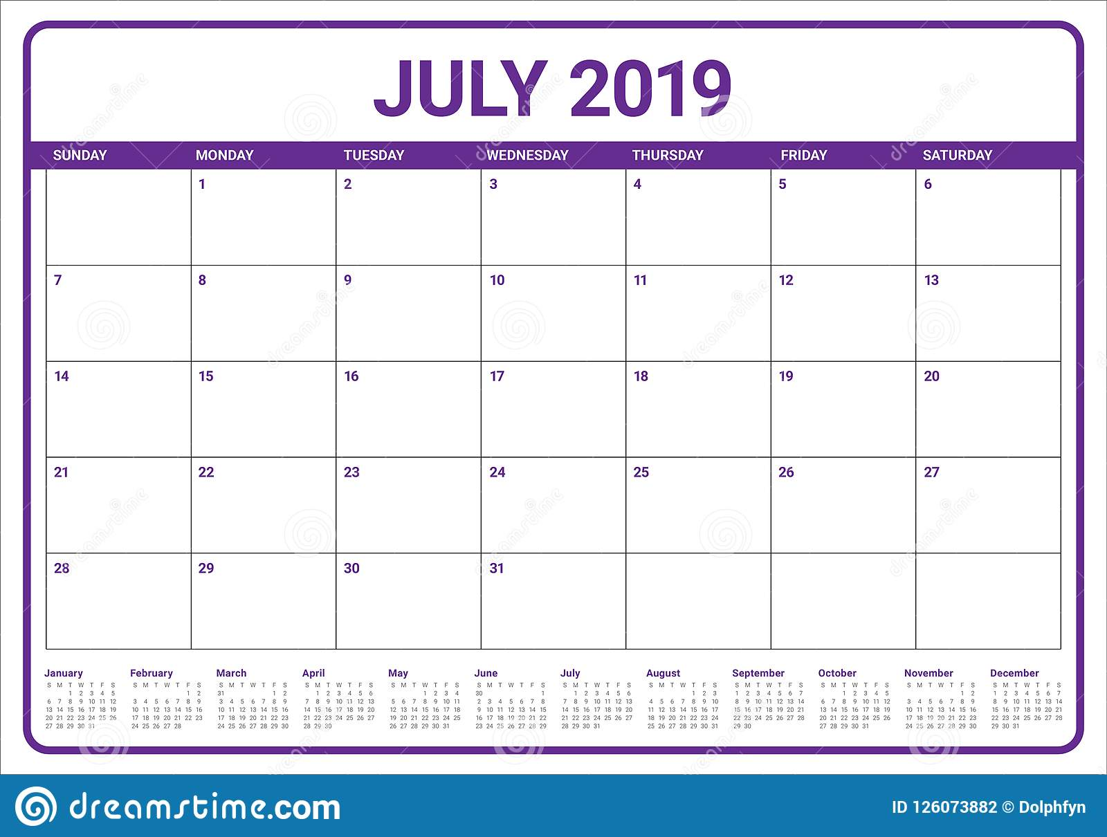Calendario Julio 2019 Vector.July 2019 Desk Calendar Vector Illustration Stock Vector