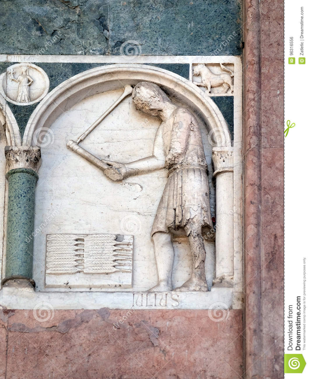 July,, detail of the bass-relief representing the Labor of the months of the year, Cathedral in Lucca, Italy