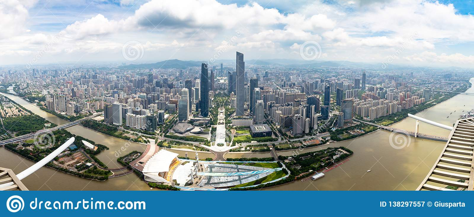 July 2017 – Guangzhou, China – Panoramic view of Guangzhou central business district and of the Pearl River