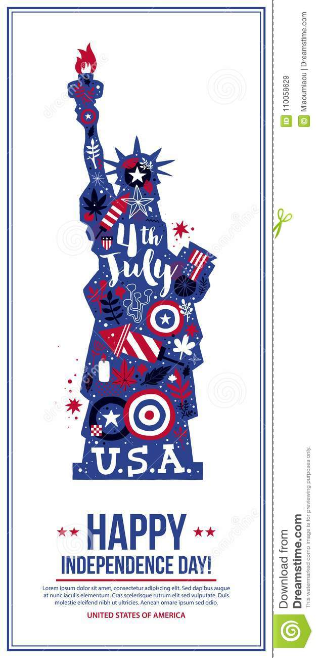 4 july independence day banner template with illustration of statue