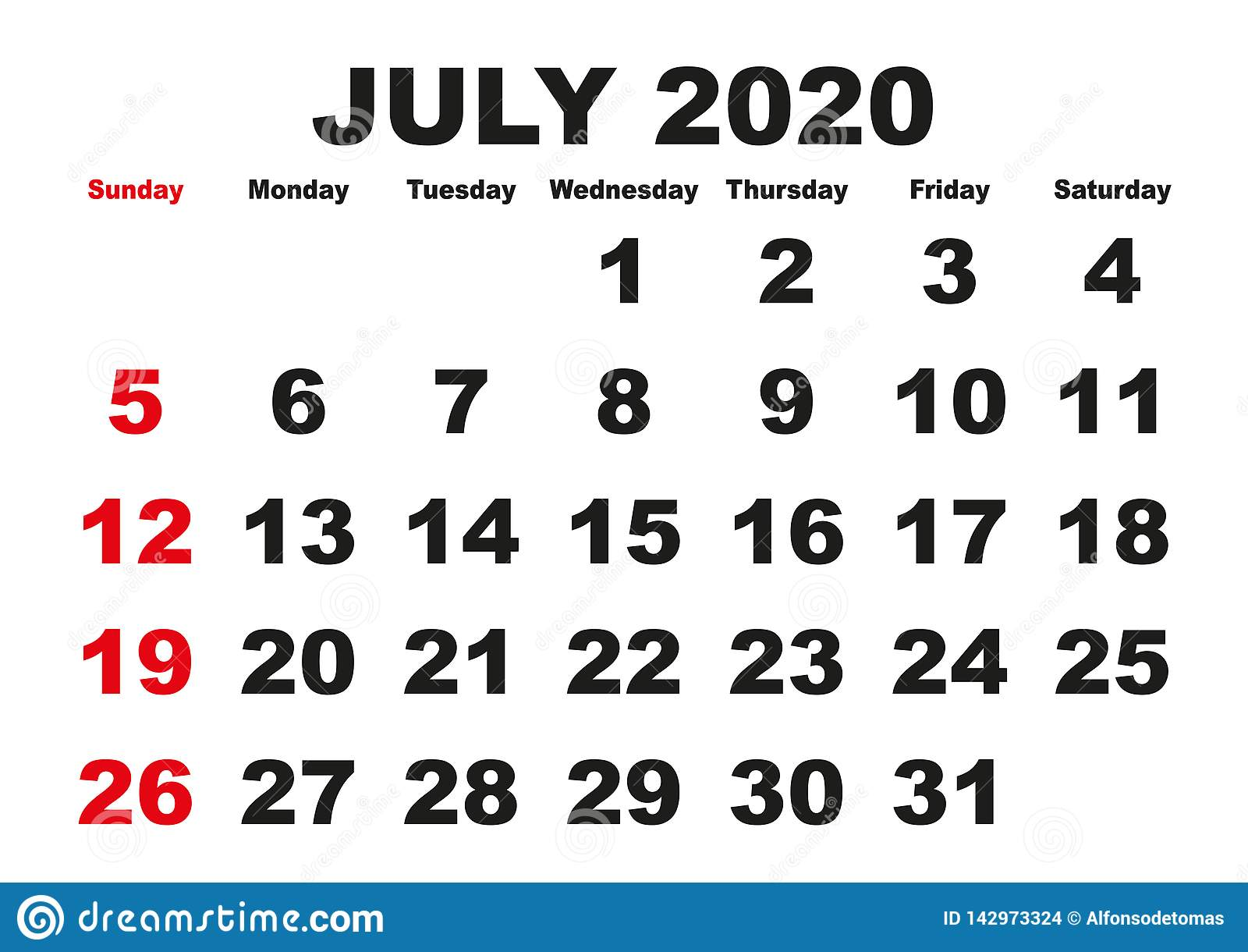 July Month Calendar 2020 July Month Calendar 2020 English USA Stock Vector   Illustration