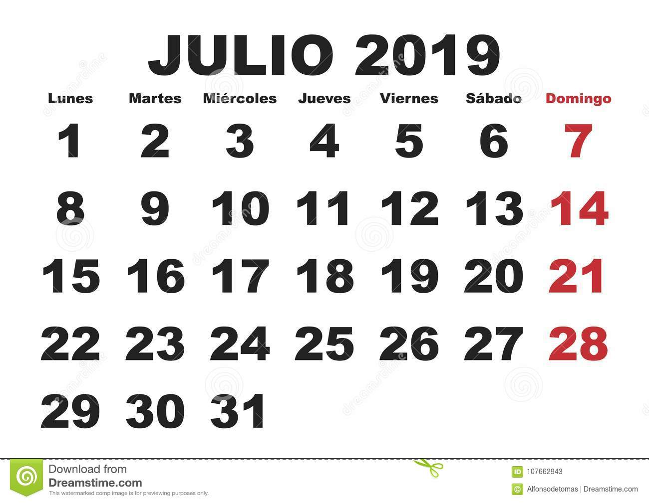 Calendario Julio 2019 Vector.Julio 2019 Wall Calendar Spanish Stock Vector Illustration