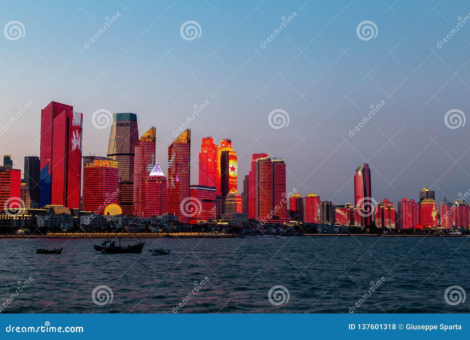 July 2018 - Qingdao, China - The new lightshow of Qingdao skyline created for the SCO summit