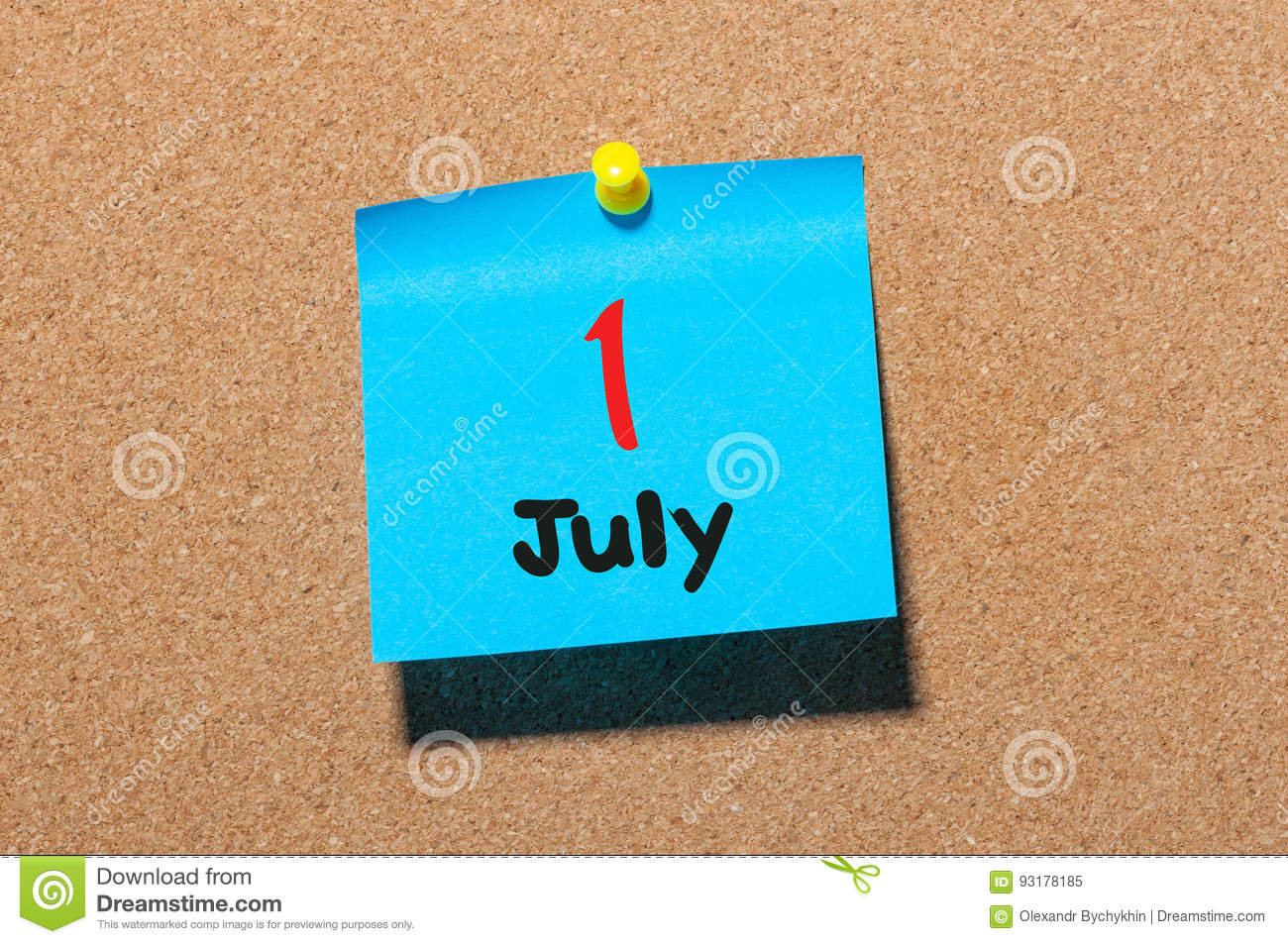 July 11st. Day 1 of month, color sticker calendar on notice board. Summer time. Close up