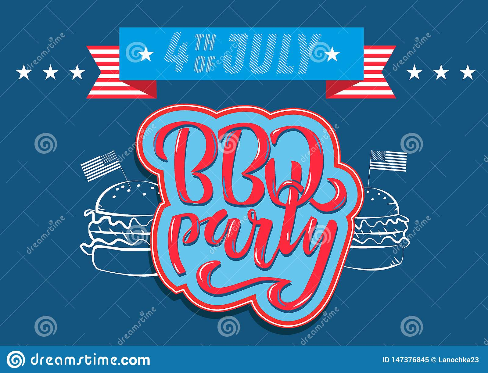 July 4th BBQ Party lettering invitation to American independence day barbeque with July 4th decorations stars, flags, fireworks on