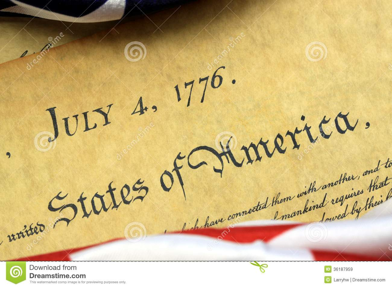 July 4th, 1776 - United States Bill Of Rights Stock Image - Image of