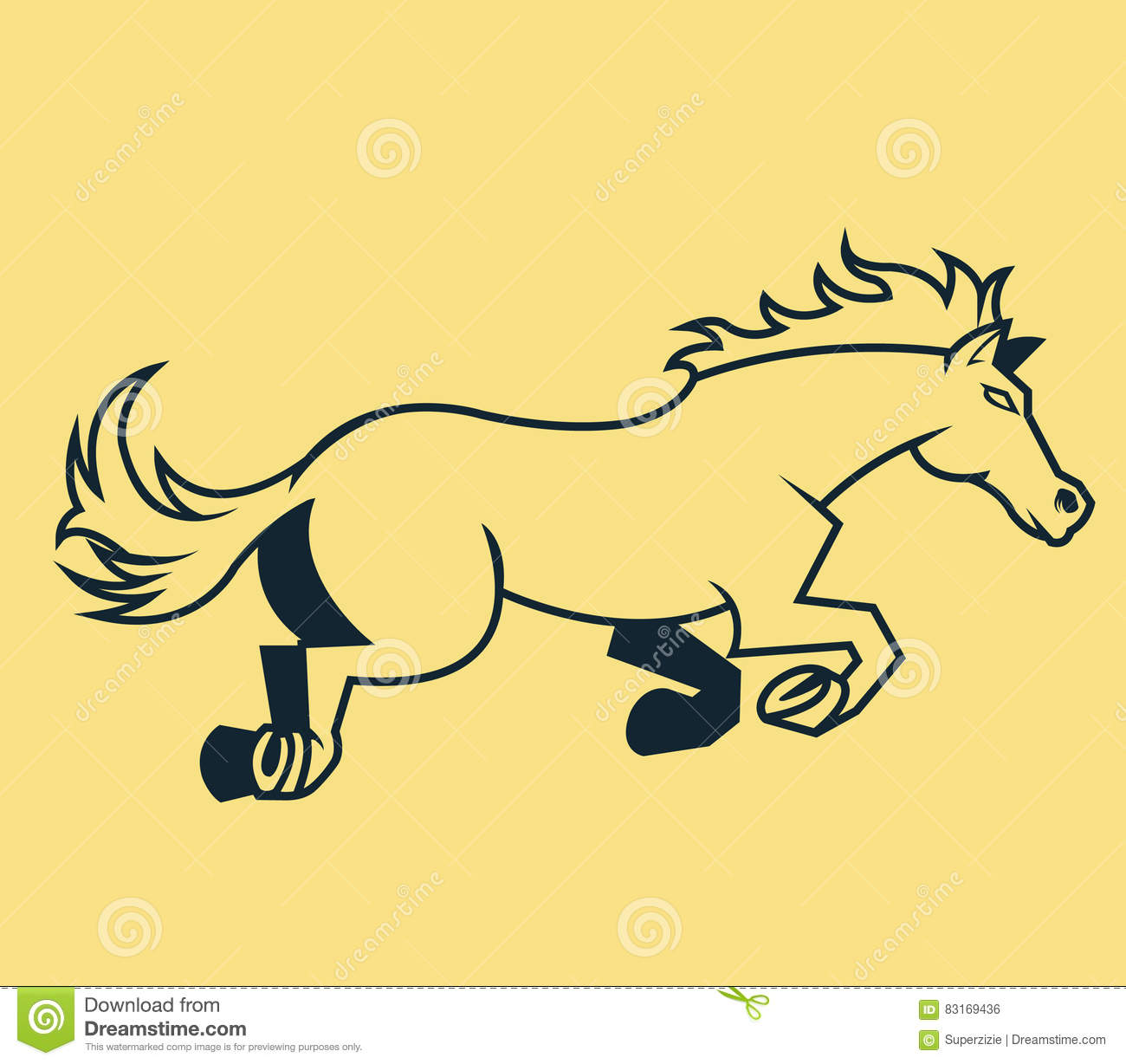 Line Art Vector Illustrator : Jump horse line art stock vector image of wildlife sport