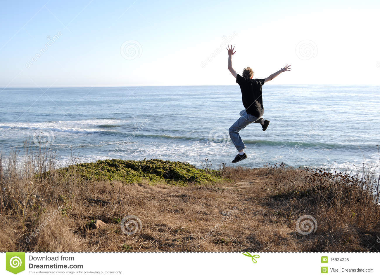 jump off a cliff royalty free stock photo