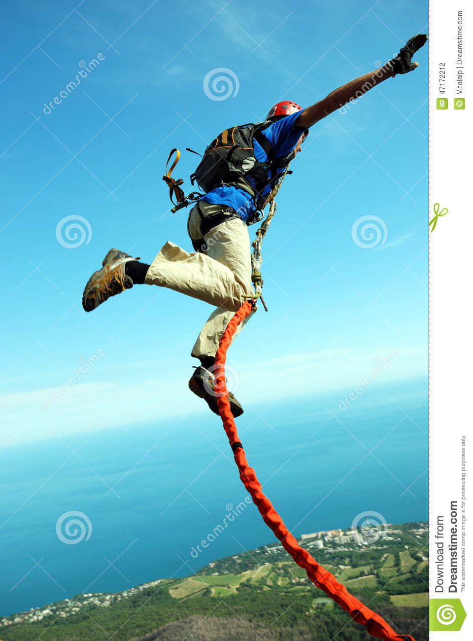 ed00b2fc0895 Jump Off A Cliff With A Rope.Bungee Jumping Stock Photo - Image of ...