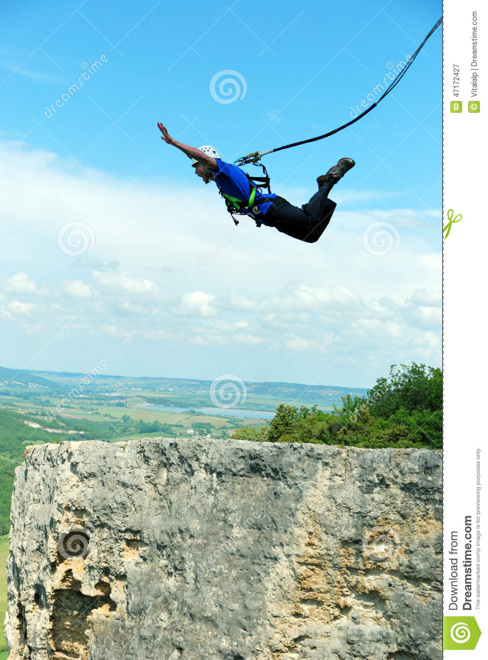 7f5c632dc233 Jump Off A Cliff With A Rope.Bungee Jumping Stock Image - Image of ...