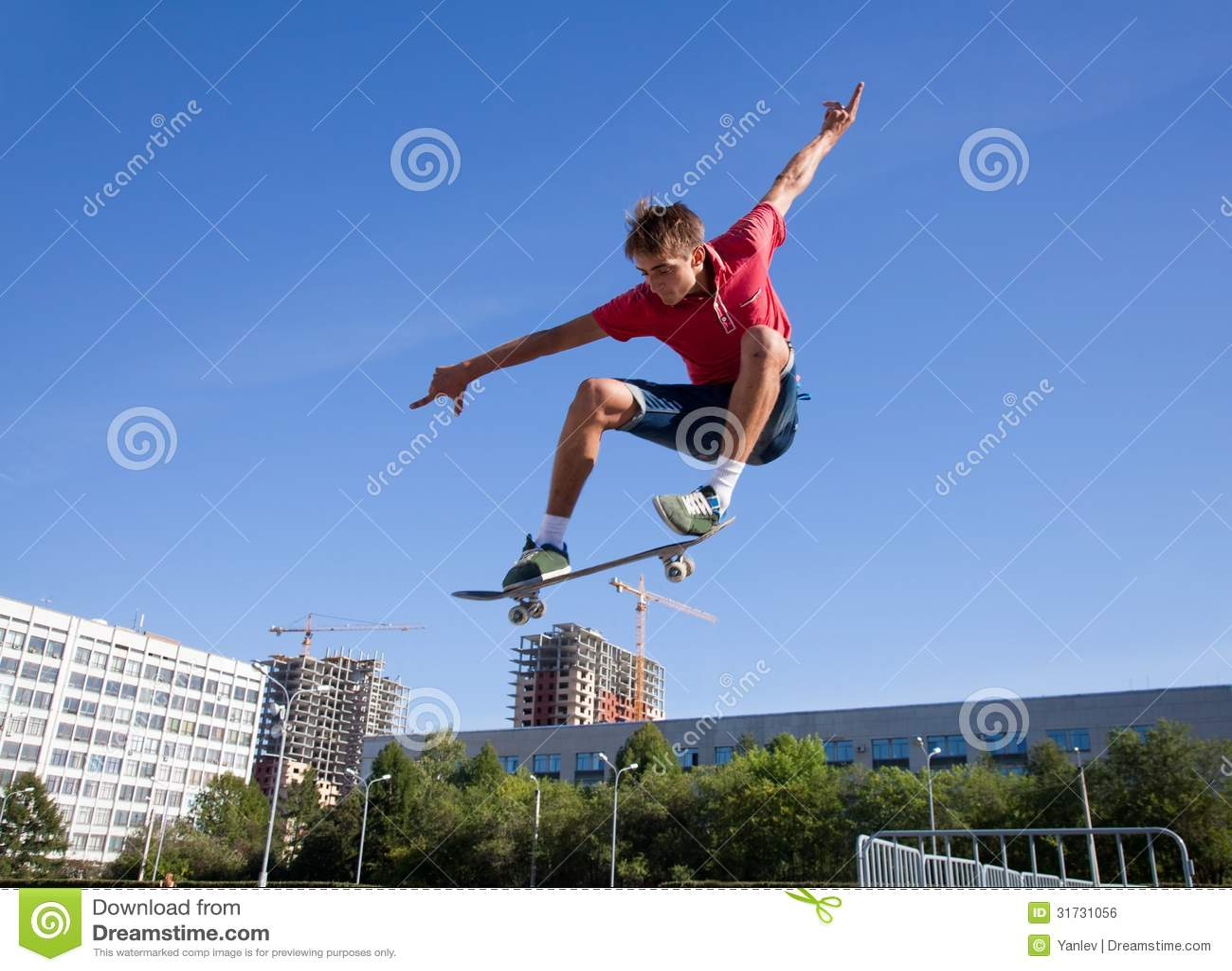 Jump on skateboard stock photo. Image of jump, exercising ...