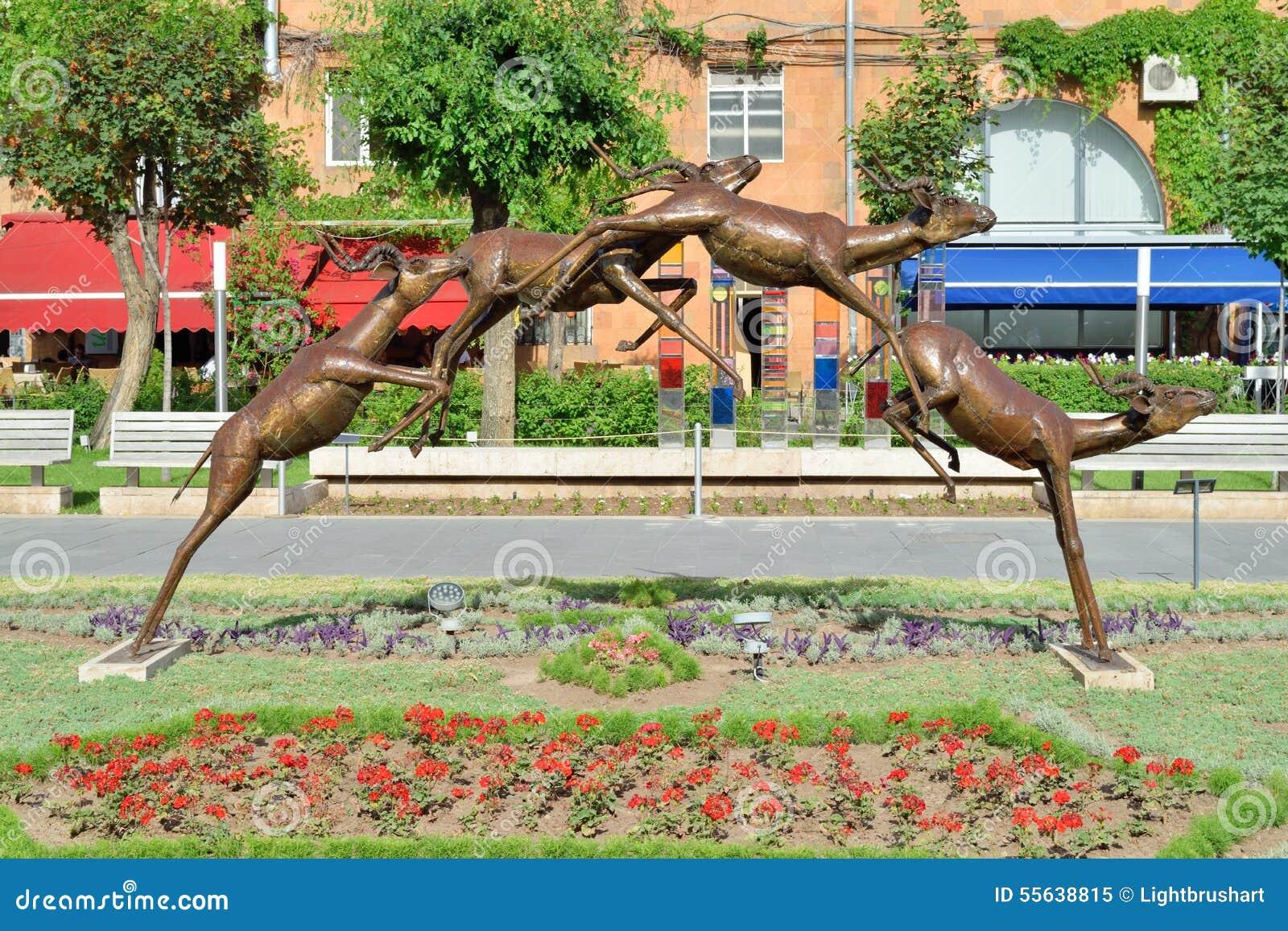 Jumping antelopes sculpture, Yerevan, Armenia